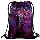 Coutume violetpos Mode Unisexe Sac de gym Sac à dos Sac de sport Gym Bag éléphant animaux Galaxie de hippie Mandala Violet
