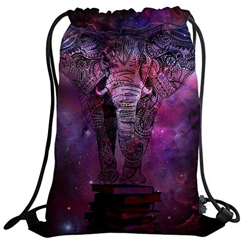 violetpos Mode costumbre Unisex Turn Bolsa Mochila Bolsa de deporte Gym Bag Animales Elefante galaxia Mandala Hippie Morado