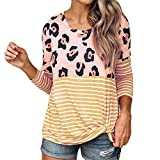 OSYARD Damen T-Shirt Oberseiten Pullover Sweatshirt, Frauen Mode Leopard Gestreift Splice Top Shirt Langarm Bluse Rundhalsausschnitt Freizeit Hemd Kleidung Pulli Tunika Oberteile(L, Gelb)