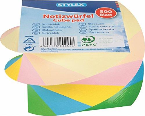 STYLEX 29255 Notizwürfel, 8.5 x 8.5 cm, gedreht farbig