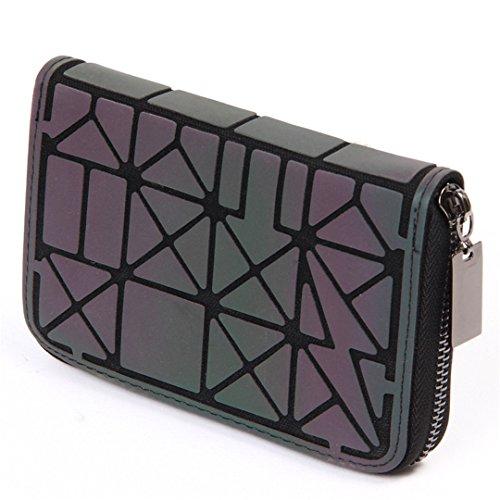 Frauen Kurze Kupplung Brieftasche Diamant Gitter Standard Reißverschluss Geldbörsen Designer Nachtleuchtende Geldbörse 5