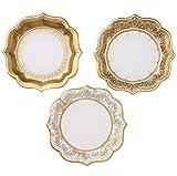Talking Tables Party Porcelain Große Pappteller für Weihnachten, Hochzeiten und Dinnerpartys, goldfarben, 20 cm (12 Stück in 3 designs)