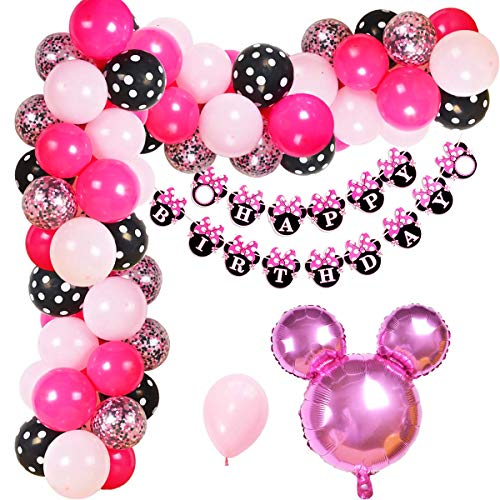 Jollyboom Minnie Mouse Geburtstag Dekorationen Minnie Mouse Ballon Garland Arch Kit für Mädchen Geburtstag Baby Shower Supplies (Maus Minnie Ballons Kopf)