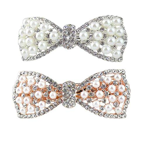 4pcs perle diamante pinces à cheveux barrettes de cheveux bowknot pour les femmes filles