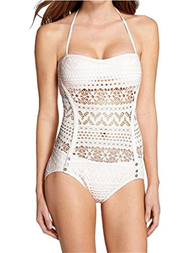 Ninimour Elegante Costume Intero Pizzo Vuoto Sexy Swimsuit One Piece (Foderato Bikini Swimsuit)