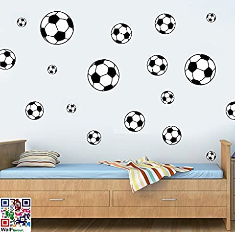 FOOTBALLS MULTIPACK - BLACK - Pack of 22 - Repositionable Wall Art Vinyl Printed Stickers - EASY PEEL & STICK by Stickers on Your Wall