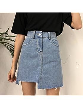 BXW Irregularidad de Cintura Alta Falda Coreana Elegante una Falda,Azul,S