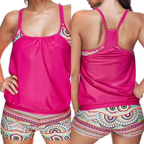 Yvelands Damen Tankini Set Beachwear gekräuselten sexy schlanken Badeanzug ()