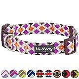 Blueberry Pet Ethno Muster Inspiriertes Bunte Rauten Designer Hundehalsband, S, Hals 30cm-40cm, Verstellbare Halsbänder für Hunde