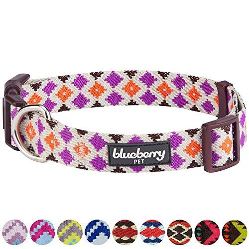 Blueberry Pet Ethno Muster Inspiriertes Bunte Rauten Designer Hundehalsband, L, Hals 45cm-66m, Verstellbare Halsbänder für Hunde -