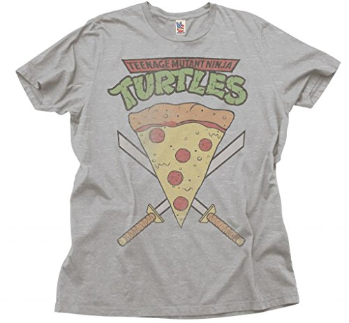 tant Ninja Turtles Pizza Slice Erwachsene Heather Grau T-Shirt (Small) ()
