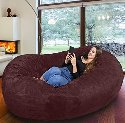 Der größte Sitzsack Europas - Riesiger Giga Sitzsack in Espresso mit 1500l Memory Schaumstoff Füllung und Waschbarem Bezug - Gemütliches Sofa, Riesen Bett, Bean Bag für Kinder und Erwachsene