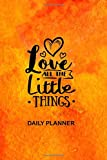 Daily Planner Love All The Little Things: Orange Love Heart Cover 2019 To Do List Planner with Checkboxes to Keep Your Organized