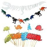 LAOZHOU Dinosaurier Party Dekoration liefert, Alles Gute Zum Geburtstag Banner, Dinosaurier-Vlies-Banner, Tier Cupcake Toppers Picks für Kinder Erwachsene (26 Packs)