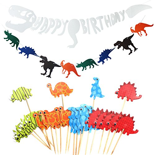 LAOZHOU Dinosaur Party Decoration Supplies, Happy Birthday Banner, Dinosaurio Non-Woven Fabric Banner, Animal Cupcake Toppers Picks para niños Adultos (26 Paquetes)
