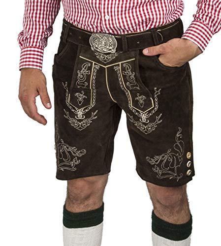 Herren Lederhose Wiesnjäger mit Trachtengürtel - Herren Trachtenlederhose Oktoberfest mit Gürtel - Trachtenhose kurz (54, dunkelbraun)