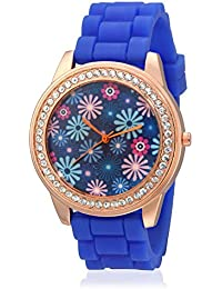 Geneva Collection Blue Floral Dial Analog Watch For Women-GNV-0013