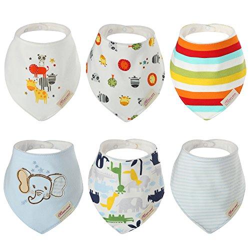 Discoball Packung mit 6 Baby Sabber Lätzchen – 100% saugfähige und weiche Baumwolle Halstücher