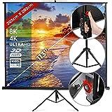 Écran de Projection avec Trépied | 203x203cm, 113 Pouces, Enroulable, Portable, Hauteur Réglable, Formats 1:1, 4:3, 16:9, Gain 1.0 | Écran de Projecteur, Roulant, Videoprojecteur, Home Cinéma