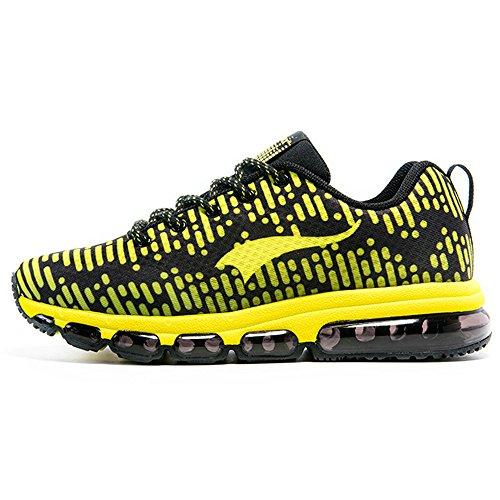 Onemix Air Running Baskets Homme Femme Chaussures de Course Respirante Sports Rhythm Sneakers Noir / Jaune