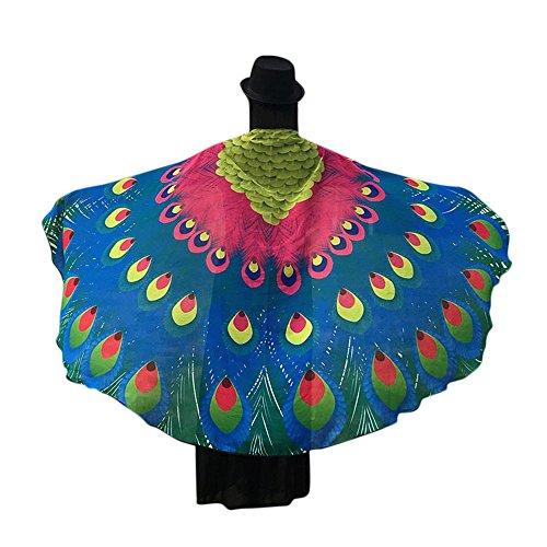 Schmetterlings Flügel Schals, VEMOW Frauen 145 * 65CM Weiches Gewebe Fee Damen Nymph Pixie Halloween Cosplay Weihnachten Cosplay Kostüm Zusatz(X4-Himmelblau, 197 * 125CM) (Cupcake Puppe Kostüm)