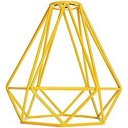 Cage en Métal Forme de Diamant Abat-Jour de Lampe de Plafond Vintage Pendentif Loft Décor - Jaune