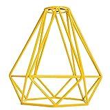 MagiDeal Vintage Metall Diamant Form Anhänger Deckenleuchte Lampe Käfig Lampenschirm Dekor - Gelb