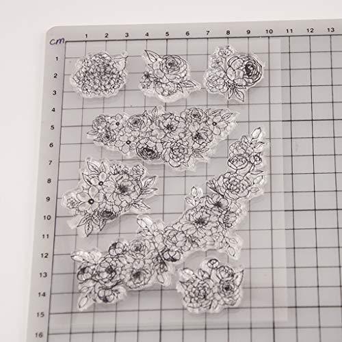 ECMQS Blumen-Rebe DIY Transparente Briefmarke, Silikon Stempel Set, Clear Stamps, Schneiden Schablonen, Bastelei Scrapbooking-Werkzeug