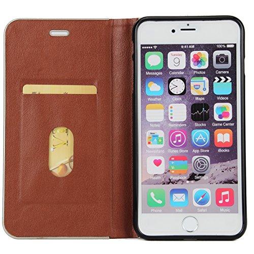 CaseforYou Hülle iPhone 6 Plus/ iPhone 6s Plus Deckung Gehäuse Litchi Grain Pattern PC + PU Leather Protective Deckel Case Magnetic Closure Flip Stand Cover mit Card Slot Schutz für iPhone 6 Plus / iP Braun