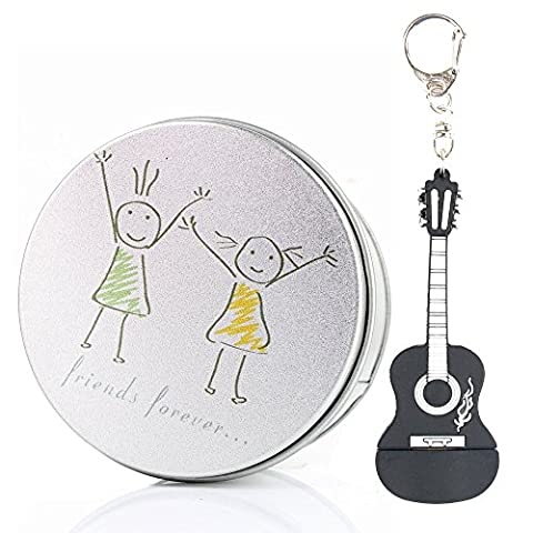 Anvor® Black Music Guitar Rock Silicon USB Memory Stick Flash Drive Data Storage Device Pendant with Keychain Friends Forever Friendship Metal Box Packing, Novelty Cute Gift / Present to Friends Kids Children