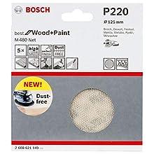 Bosch Professional 2608621149 G220, Set of 5 Sanding Sheets M480 Best (Wood and Paint, Ø 125 mm, Grit P220, Accessories for Random Orbit Sander), Beige, x 5, Pieces