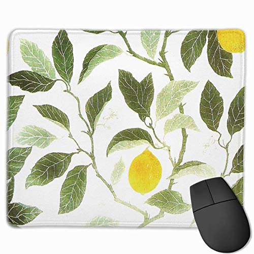 Lemon Leaf Personalized Design Mauspad Gaming Mauspad with Stitched Edges Mousepads, Non-Slip Rubber Base, 300 x 250 x 3 mm Thick - Best Gift Idea -
