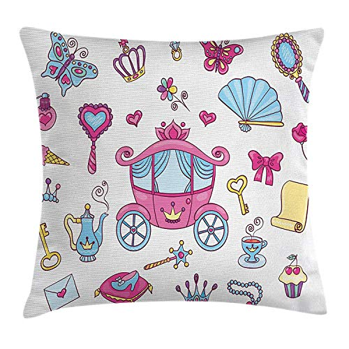Jolly2T Girls Throw Pillow Cushion Cover, Princess Theme Pattern Carriage Tiara Wand Butterfly Key Fairy Tale Girls Room Kids, Decorative Square Accent Pillow Case, 18 X 18 inches, Pink Blue - Blue Satin Gold Wand