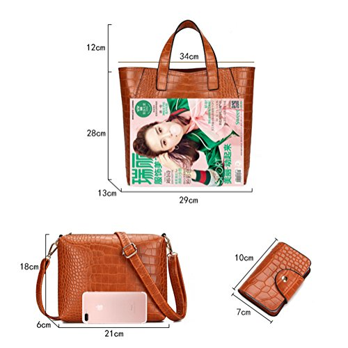 Damen Vintage PU Leder Handtasche Schultertasche Shopper Taschen Umhängetasche 3 Stück Braun