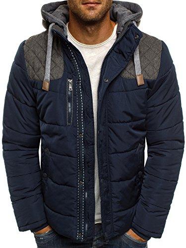 OZONEE Herren Winterjacke Steppjacke Sweatjacke Wärmejacke Jacke Gesteppt J.BOYZ X1039K DUNKELBLAU M