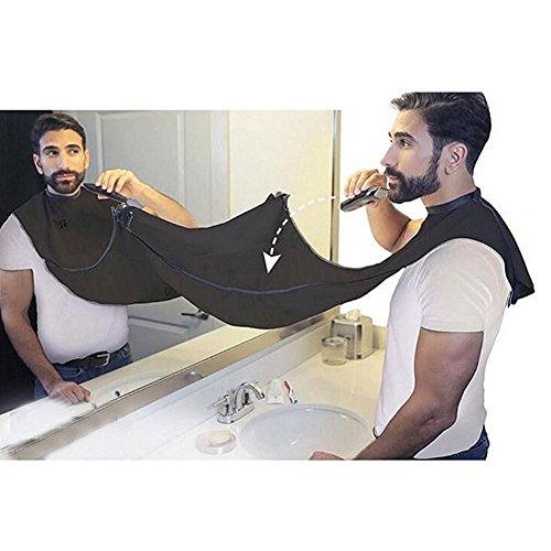 Grembiule bavaglino per barba rasatura toelettatura peli facciali passamanerie barba catcher mantello con ventose–impermeabile, pieghevoli, less mess, neat beard