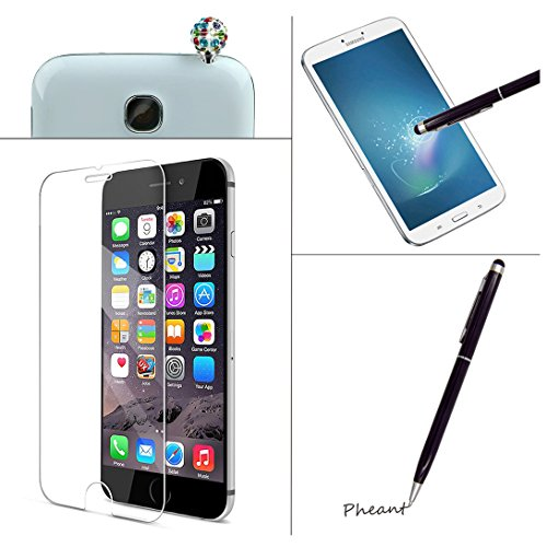 Pheant®[4 in 1] Apple iPhone 6/6S(4.7 pouces) Coque Gel en Souple Silicone Transparent Cas avec Verre Trempé Protecteur d'écran Stylet Bouchon Anti-poussière(Coeur Plume) Papillon Noir