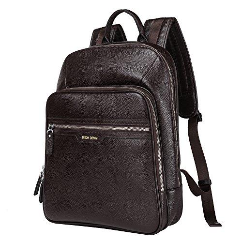 BISON DENIM 14 Zoll Laptop Rucksack Backpack Lederrucksack Schulrucksack für Arbeit Campus Studenten Outdoor Reisen Wandern mit Großer Kapazität (N2337-Coffee)