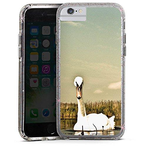 Apple iPhone 6 Bumper Hülle Bumper Case Glitzer Hülle Schwan Swan Vogel Bumper Case Glitzer rose gold