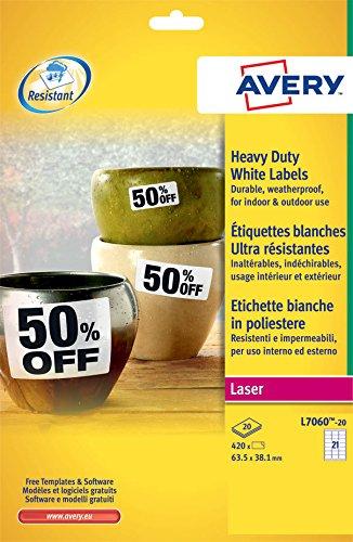 Avery Italia L7060-20 Etichette in Poliestere Bianco, 21 Pezzi per Foglio, 20 Fogli, 63.5 x 38.1, Bianco