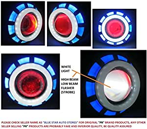 PR Projector Lamp (Blue and White) High Beam, Low Beam, Flasher Light, White Light Led headlight Lens projector with Angle eye For TVS Apache RTR 250 1 Pcs