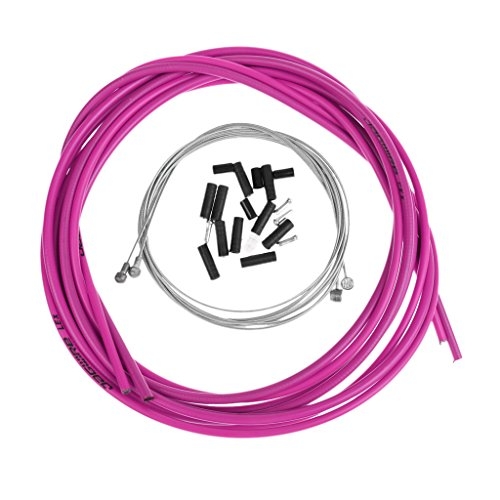 MagiDeal Fahrradbremse Kabelsatz 2,5 m Bremszughülle inkl. Bremszüge Endhülsen & Endkappen - Lila