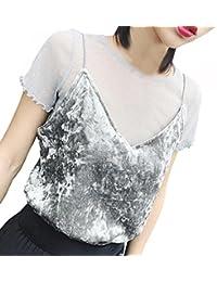 Oyedens Blusa, Mujeres Camisa de Manga Corta Perspectiva Cosecha Ahuecar Blusa de Encaje