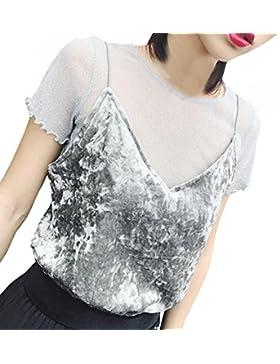 Blusa, Oyedens Mujeres Camisa de manga corta Perspectiva Cosecha ahuecar Blusa de Encaje
