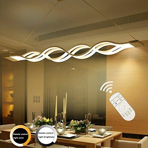 LED Pendelleuchte, Ziplighting Minimalistischen Acryl Wellenförmige Hängelampe, Kronleuchter Gilt für Wohnzimmer Schlafzimmer Hotelzimmer, Höhenverstellbar Einstellbare(0.8--1.2m), 80w, 3000-- 6000K