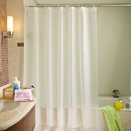 J&DUS Wasserdichter duschvorhang,Peva Dusche Vorhang,Midew Beständig Waschbar Bad Vorhang für Badezimmer mit Anti-Rost-Ösen, Kunststoff gardinenringe-Weiß 200x180cm(79x71inch) -