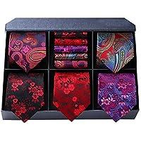 HISDERN Lot 5 PCS Classic Formal Elegant Men's Silk Tie Set Necktie & Pocket Square - Multiple Sets