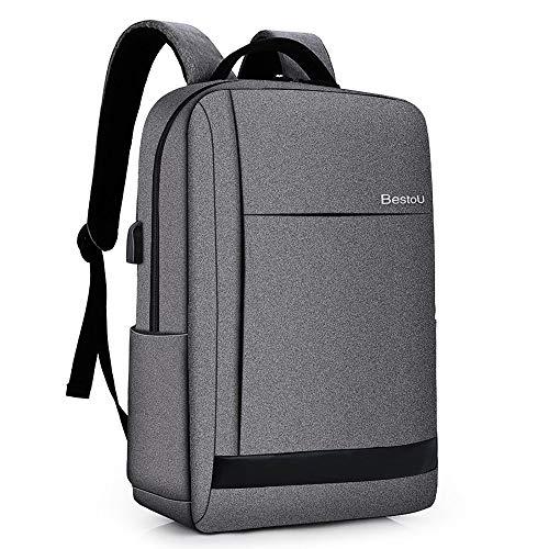 Business Rucksack Herren Damen Laptop Rucksack 15,6 Zoll mit USB-Ladeschnittstelle für Schule Reise Arbeit (Grau) - Rucksack Minimalistischer