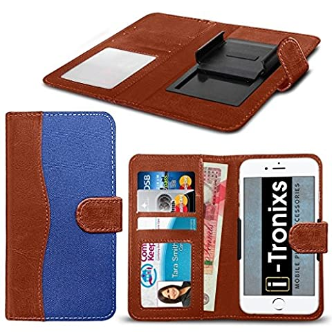 ( Blue 143 x 71 mm ) case for UMIDIGI G case cover [ UNIVERSAL BOOK POUCH ] Thin Fabrics and Synthetic PU Leather Faux Leather Holdit Spring Clamp Adjustable Flip case cover Skin With Credit/Debit UMIDIGI G case BY i-Tronixs