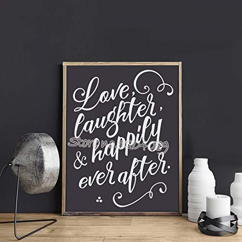 yiyiyaya Lieben Sie Gelächter und glücklich überhaupt nach Brettaufkleber Hochzeits-Prinzessin Themed Raum-Märchen-Vinylwand-Anführungsstrich-Kunsttapete 42 * 57cm